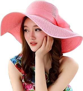 Lace Adjustable Floppy Straw Hat Large Brim Sun Hat Women Summer Beach Cap Big Foldable Fedora Hats for Women Girls