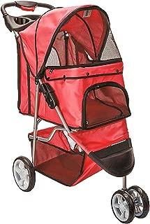 Bloodyrippa 3-Wheel Folding Pet Stroller for Cats Dogs, No-Zipper Entry, Retractable Waterproof Rain Hood, Storage Basket, Cup Holder, Red