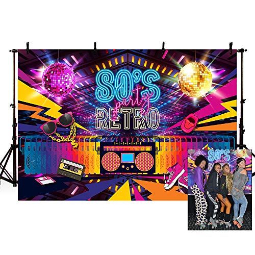 Mehofoto Retro Back to 80s Decoración de fiesta de cumpleaños para adultos Banner Photo Studio Booth Background Hip Hop Discoteca fondos para fotografía 7x5ft