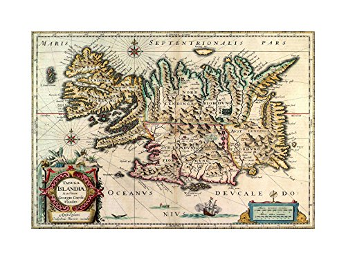 The Art Stop MAP Antique 1630 BLAEU Iceland Print F12X3958