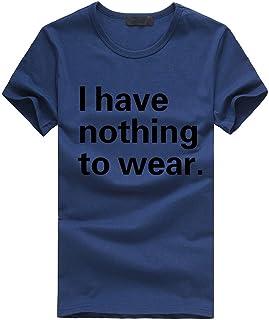 Oliviavan Men's T-Shirt Spring Summer Top Casual Short Sleeve Crew Neck Words Printed T-Shirts Slim Fit Classic T-Shirt Sport Tops, l