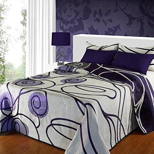 Colcha reversible estampada en tonos malvas y lilas cama de 180.(cuadrantes no incluidos) Varias medidas.