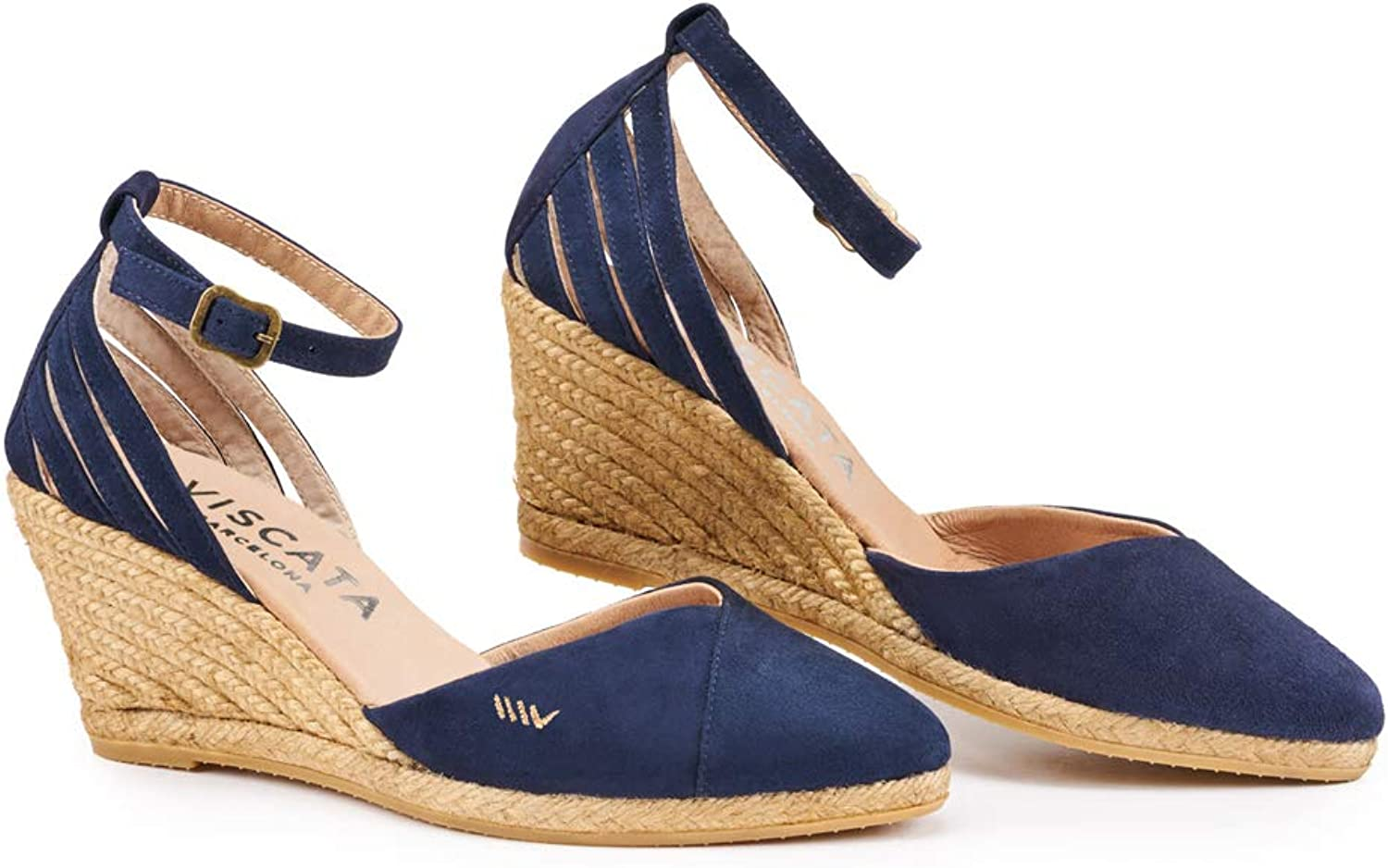 VISCATA Handmade in Spain Ullastret Suede 3  Wedge, Fashion Ankle-Strap, Closed Toe, Classic Espadrilles Heel