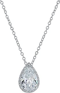 Montage Jewelry Women's Pear Shape Sterling Silver & Cubic Zirconia Bridal Chain Necklace