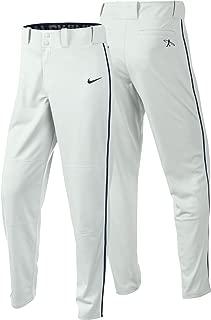 Nike Men's Swingman Dri-FIT Piped Baseball Pants (White/Navy, Medium)