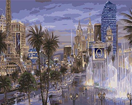 baodanla Kein Rahmen Rahmenloses Gemälde von digital digitales Gemälde Landschaft Stadtlicht...