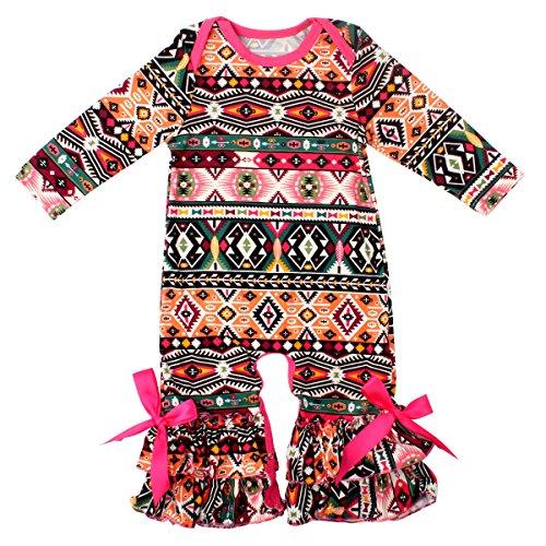 Slowera Baby Girls Flower Romper Long Sleeve Ruffles Leisure Wear (Peru,S:12 Months)