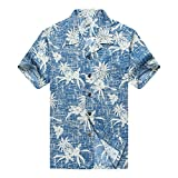 Men's Hawaiian Shirt Aloha Shirt L Vintage Blue Pineapple Floral