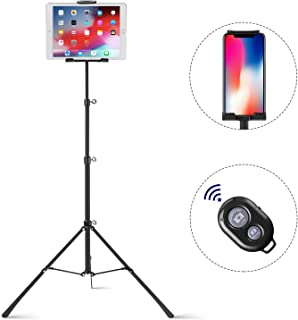 Raking Tablet Tripod,Portable Height Adjustable Tripod Stand,360 Degree Rotating Tripod Mount for 4.7-12 inch iPhone, iPad, Samsung, Kindle Fire, Bluetooth Remote Shutter As Gift