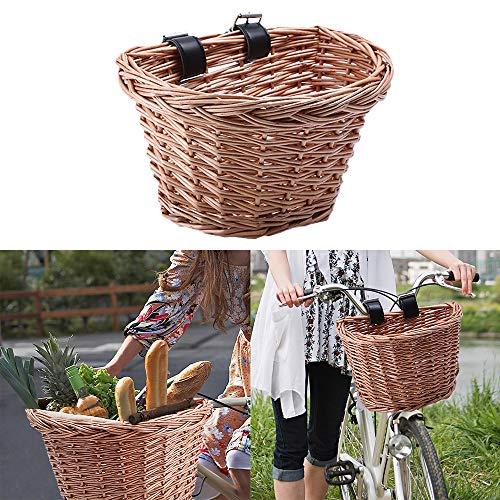 TopHGC Fiets rieten mand, traditionele rieten fiets voormand, fietsaccessoires