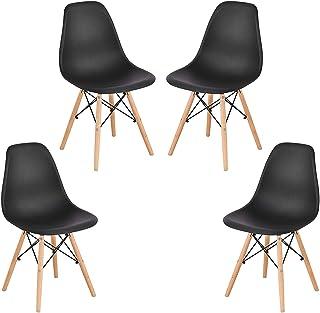 YIZHE Juego de sillas de Comedor Silla tapizada en Cuero sintético Patas de Madera de Haya Sillas de Cocina Set de 4 sillas,Pack 4 sillas de Comedor Silla diseño nórdico Retro Estilo