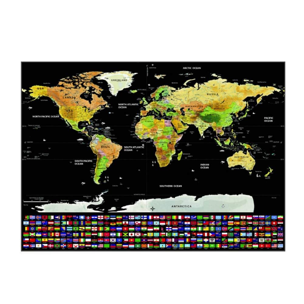 Leezo - Póster de mapa del mundo para rascar con banderas de campo L: Amazon.es: Oficina y papelería