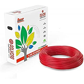 Polycab Superex Fr PVC Insulated 2.5mm Single Core Flexible Copper Wires & Cables for Domestic/Industrial Electric | Home Electric Wire | 90 Mtr |(Red)