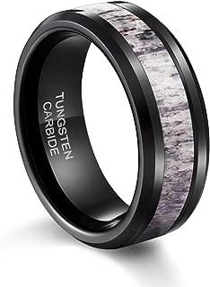 TUSEN JEWELRY Black Tungsten Ring Polished Finish Deer Antler Inlay Mens Wedding Band 8mm