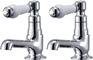 Hapilife DT20E Basin Pair Victoria Traditional Bathroom Sink Taps Mixers Ceramic Lever, Chrome & White