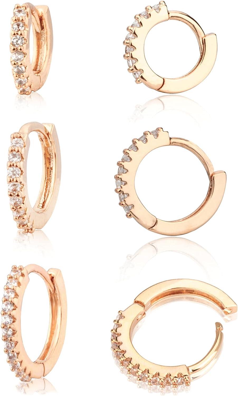 Beautywell 3 Pairs Cubic Zirconia Hoop for or Inexpensive Earrings Indefinitely Men Women