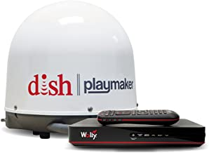 Winegard PAE100R White Playmaker Portable Satellite TV Antenna (with Dish Wally Receiver Bundle)
