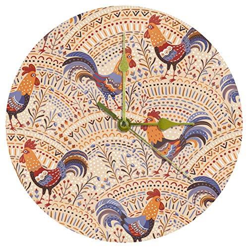 Yoliveya Runde Quarz-Wanduhr, tickt nicht, dekorativ, zum Aufhängen, leise Zeit für Zuhause, Büro, Küche, Schule, Geschenk, 25 cm – niedliches Hahn, Hähnchen, Beige
