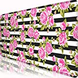 Extended Gaming Mouse Pad with Stitched Edges,Pink Rose Flower on Black Striped Background Design Printed Mouse Mat(31.5x11.8x0.1inch) Comfortable Large Mousepad for Work & Gaming, Office & Home