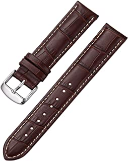 iStrap Leather Watch Band Alligator Grain Calfskin Replacement Strap Stainless Steel Buckle Bracelet for Men Women-18mm 19...