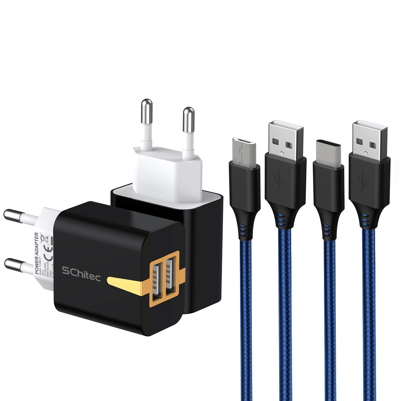 SCHITEC Cargador USB 2 Pack,2 Puertos 5V / 2.1A Cargador de Pared USB con 2