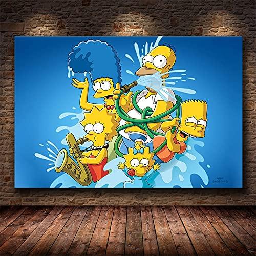 DIY Pintar por números Los Simpsons Cartoon Character Painting Picture Art pintura digital por números kits sobre lienzo Con pincel y pintura acrílica Kits Theme Digital40x60cm(Sin marco)
