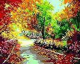 Ojmikmg Pintar por Numeros para Adultos Niños Principiantes -Pintura por Números Paisaje con Pinceles y Pinturas DIY Conjunto 40 x 50 cm Sin Marco