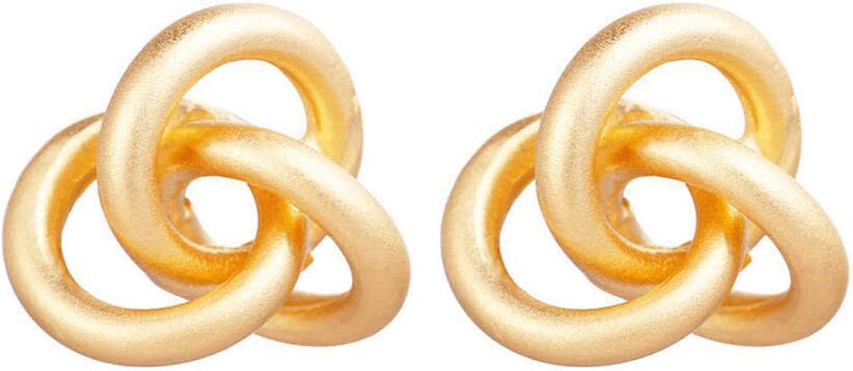 Simple Women Fashion Elegant Twisted Circles Geometric Dangle Ear Stud Earring Jackets Jewelry Gift