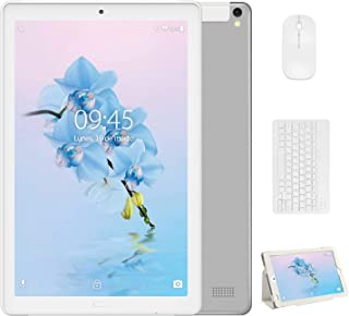 4G Tablet 10 Pulgadas YESTEL X2 3GB+32GB Android 8.1 Tableta con Mouse y Teclado 4 Core 8000mAh 1280X800 HD IPS Soporte WiFi/Dobles SIM FM Plata