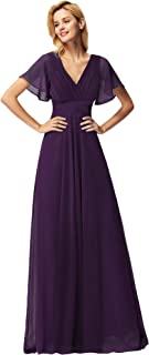 Ever-Pretty Women's Glamorous V Neck with Short Sleeves Long Chiffon A Line Empire Bridesmaid Dresses 09890