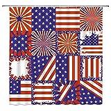 WZFashion Duschvorhang, geometrisch, Motiv US-Flagge, rot-blau-weiß gestreift, abstrakt, 3D-Quadrate, Diamanten, modische Badezimmervorhänge, Dekorstoff, 177,8 x 177,8 cm, mit Haken