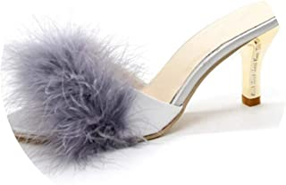 Monicas-house Summer Shoes Woman Feather Thin High Heels Fur Slippers Peep Toe Mules Lady Pumps Slides Shoes