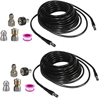 kowaku 2x High Pressure Washer Sewer Cleaning Nozzle Quick Connector Kits 6m + 10m