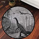 №09864 Round Area Rug Floor Kitchen Carpet, Fantasy House Decor,Dinosaurs Dragons in an Araucaria Landscape Primitives On Earth Trex Illustration Print,Grey, for Home Decor