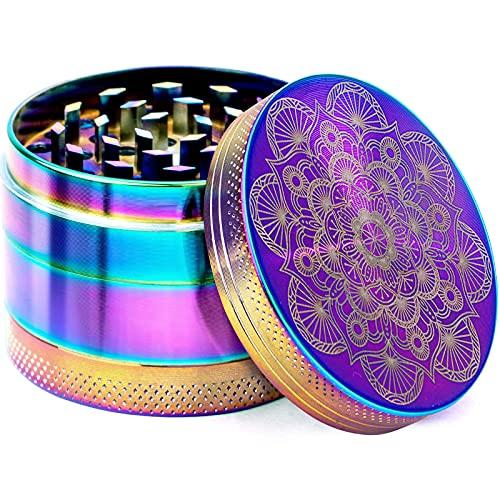 "PILOTDIARY Herb Spice Grinder 4 Piece 2"" with Pollen Catcher Mandala Series - Aluminum, Rainbow"