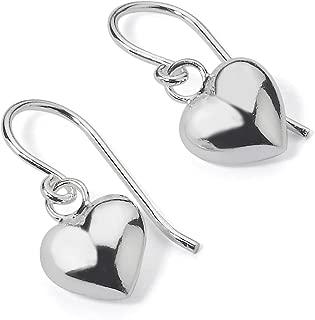 925 Sterling Silver Puffed Heart Love Dangle Fish Hook Dainty Drop Earrings