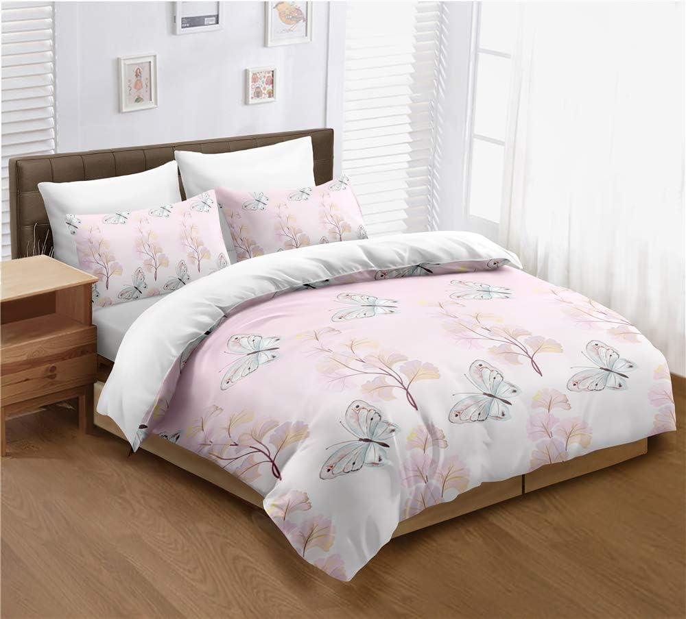 Butterflies Bedding Set Product Queen Size Attention brand Pink Cover Duvet Flower