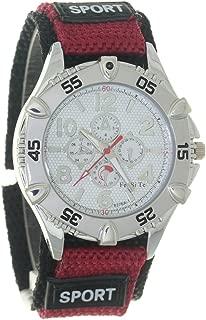 Round Chronograph Dial Quartz Outdoor Sport Red Weave Nylon Strap Belt Fabric Velcro Luminous Marks