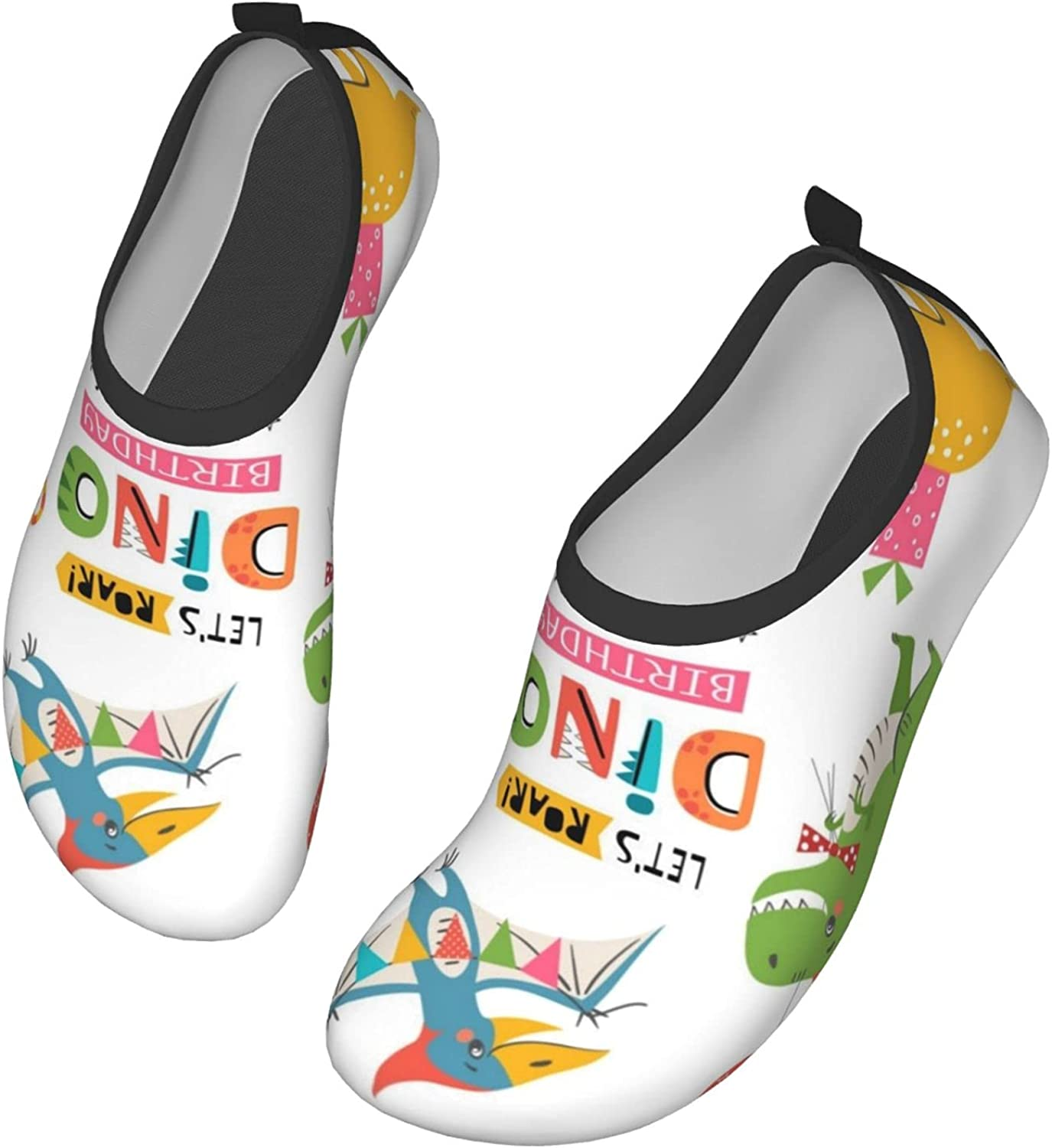 Funny Cute Colorful Birthday Party Dinosaurs Womens and Mens Water Shoes Barefoot Quick-Dry Aqua Socks Slip-On for Outdoor Beach Swim Yoga