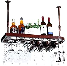 HTTJJ Bar Unit Floating Shelves Wine Racks on The Ceiling, Bottle and Glass Holders, Hanging stemware Holder LOFT Vintage ...