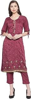 Aujjessa Women's Silk Embroidered Kurta Trouser Suit Set With Dupatta (Purple)