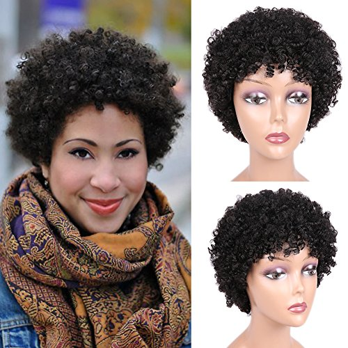 Short Afro Wig Brazilian Virgin Human Hair Wigs Natrual Black Afro Kinky Curly Wigs for Black Women Natural Looking 6.5 Inches