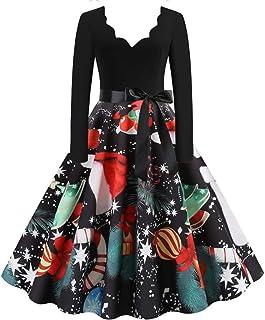 ALINKCO Robe Vintage,Robe Imprim/éE Mi-Mollet sans Manches /à Col Rond Robe De Soiree Robe D/éT/é Femme /à Ceinture
