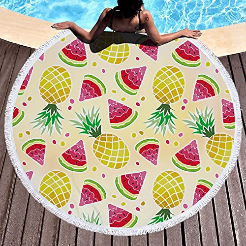 Oversized Round Beach Towel -- Sandproof Beach Blanket Circle Microfiber Yoga Mat Multi-Purpose Towel for Women Men Kids with Tassels 59 inch