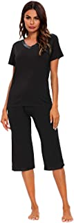 Womens Modal Pajama Set Comfy Sleepwear Top with Capri...