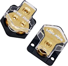 LEIGESAUDIO 0/2/4 Gauge in 4/8 Gauge AWG Out Amp Power Distribution Block for Car Audio Splitter-2 Way Outputs Power Distributor Block Fuse Holder(2 Pack)