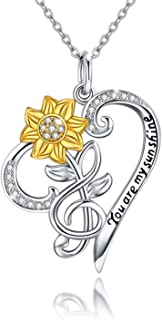 Sunflower Necklace S925 Sterling Silver - You are My Sunshine Sunflower CZ Heart Pendant Necklace Infinity Musical Note Flower Jewelry Gift for Women Lover Friends