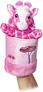 "Pink Giraffe ~10.5"" Pop Up Hand Puppet Plush"