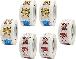 TOYANDONA 6 Rolls Round Animal Stickers Adorable Farm Animal Roll Stickers Face Stickers Labels Stationery Stickers Decora...