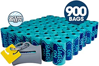 Bags on Board Odor Control Dog Poop Bags and Dispenser   Strong, Leak Proof Dog Waste Bags   9 x14 Inch Scented Waste Pickup Bags